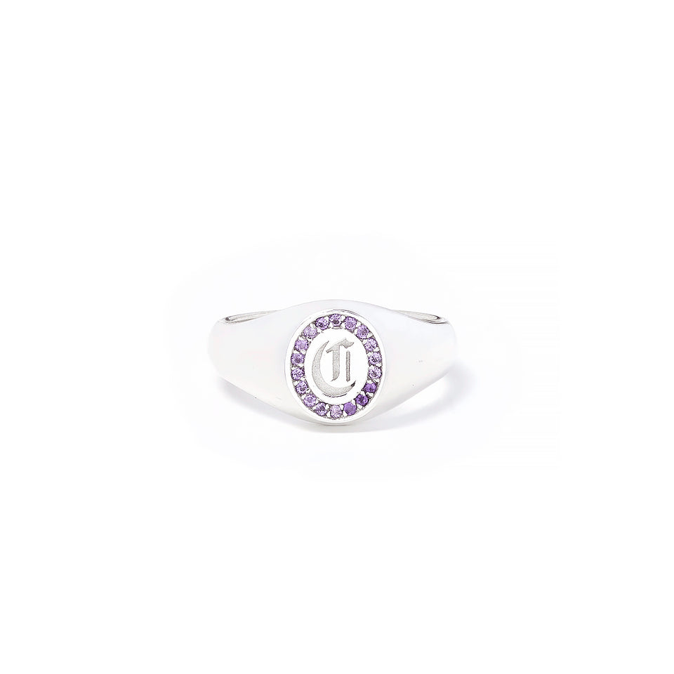 Amethyst Initial Signet Ring