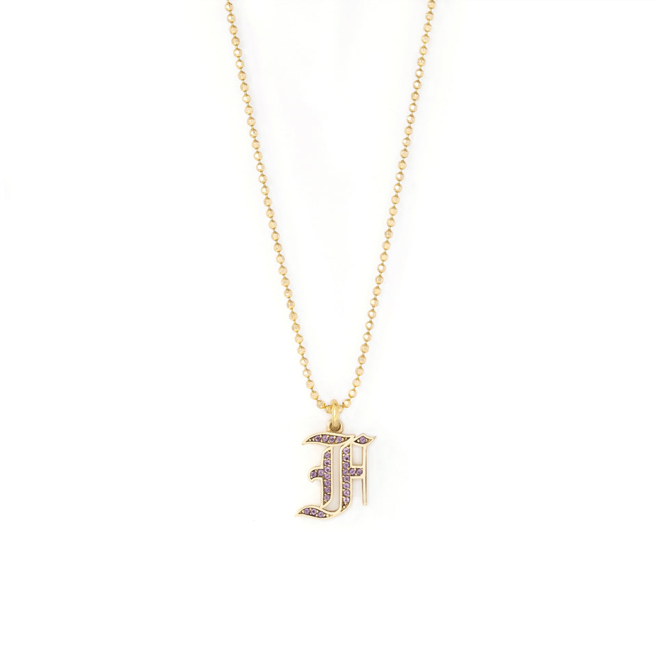 Amethyst Initial Necklace