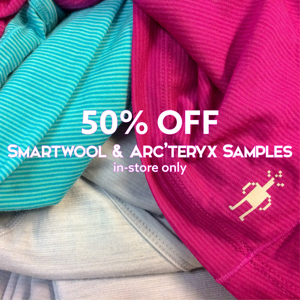 50% off Arc'Teryx & Smartwool Samples