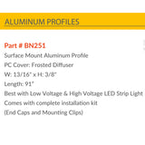 Aluminum Arc Cover, Aluminum Channel for Strip Lights Best for 12V, 24 and 110V Strip light