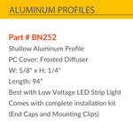 Aluminum Channel, Frosted Diffuser cover, Best for 12V, 24 and 110V Strip light
