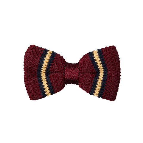 Knit 02 Burgundy Navy Yellow / Bow Tie