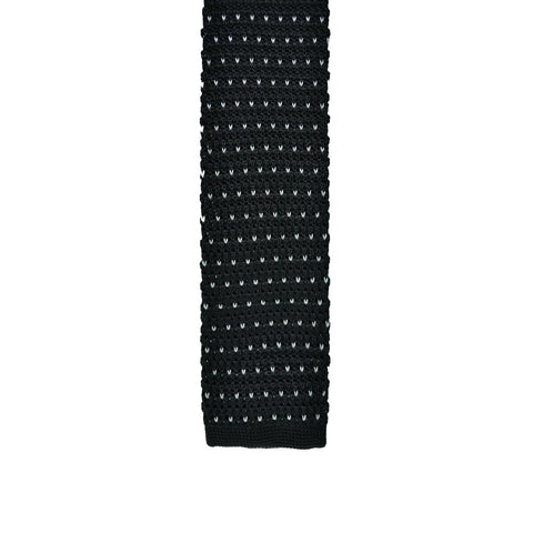 Knitted Tie - Black with White Dots