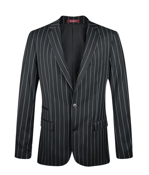 Pinstripe 3-piece Suit MSS600 Black Slim Fit