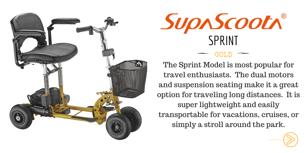 SupaScoota Sprint Lightweight & Folding Travel Mobility Scooter