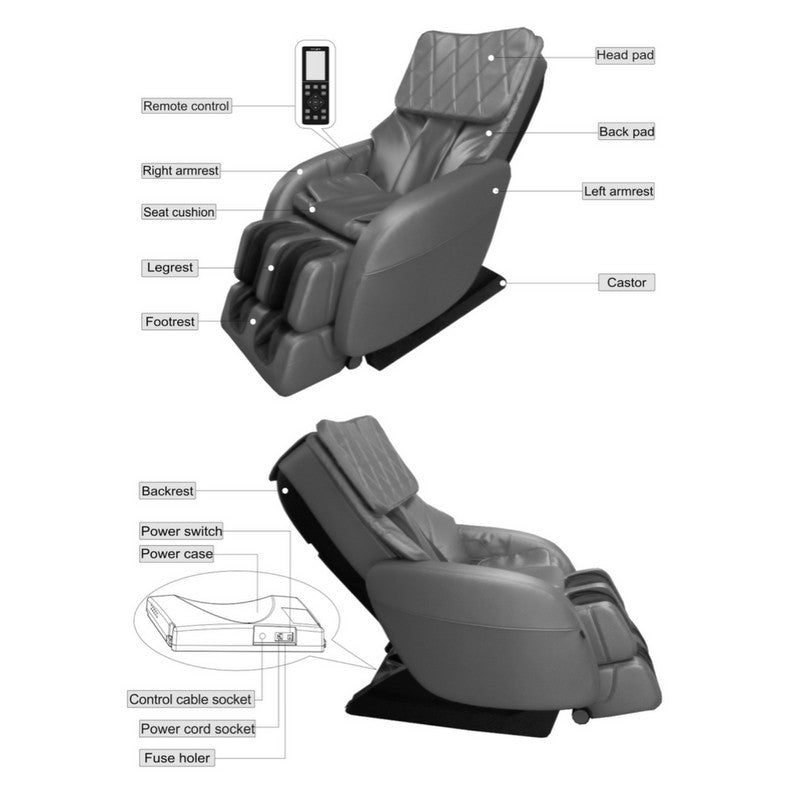 Quantum FDA Luxury Full Body Zero Gravity MassageChair Atom Black