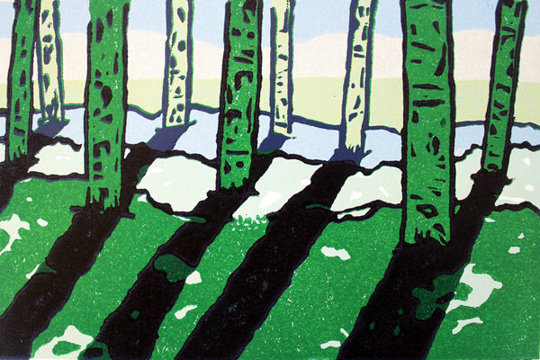 april an original print lino canaidan landscapes with trees
