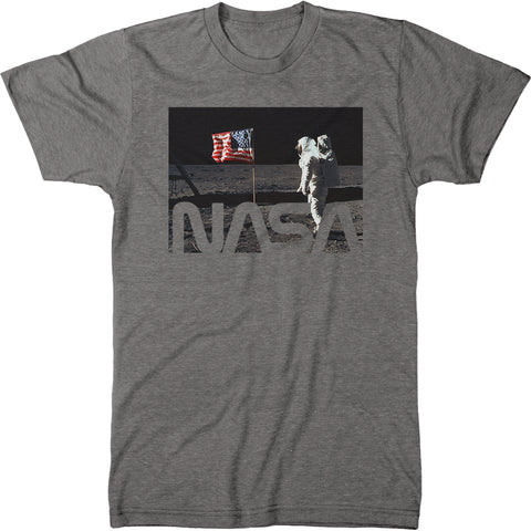 NASA Astronaut and Flag On The Moon Mens Modern Fit Tri-blend T-shirt