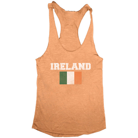 Distressed St. Patrick's Day Ireland Flag Women's Racerback Tank