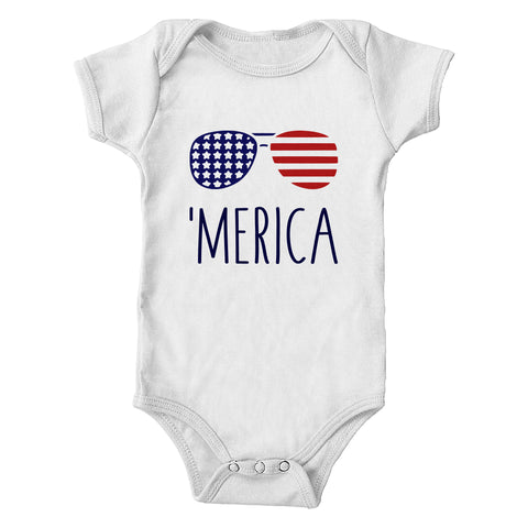 Merica American Flag Aviators Infant Bodysuit