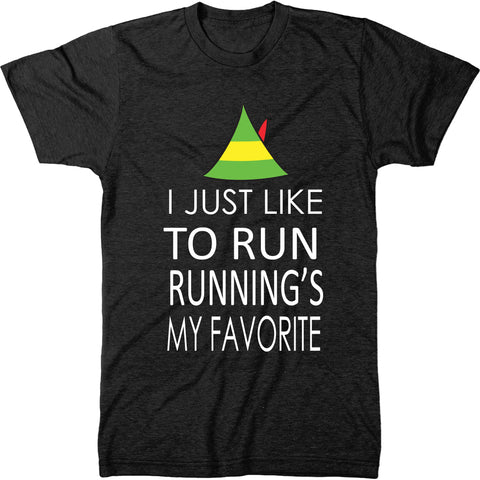 I Just Like To Run Running Is My Favorite Elf Christmas Men's T-Shirt