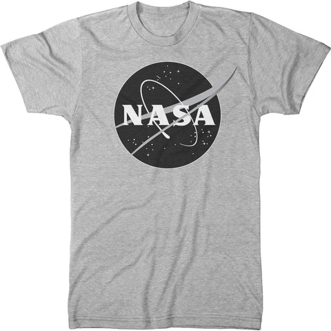 NASA Meatball Logo Black & White Mens Modern Fit Tri-Blend Crew