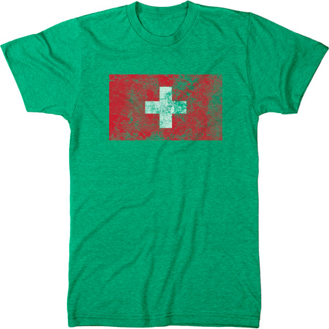 Distressed Switzerland Flag Men's Modern Fit T-Shirt