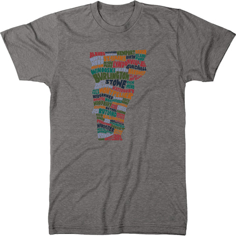 Vermont Cities Typography Men's Modern Fit Tri-Blend T-Shirt