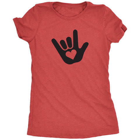 ASL I Love You Sign Language Women's Tri-Blend T-Shirt