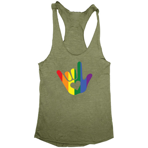 ASL I Love You Gay Pride Sign Language Women's Racerback Tank
