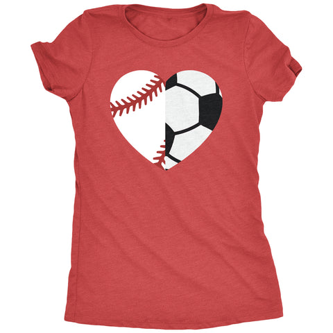 Half Soccer Half Baseball Sports Mom District Made T-shirt