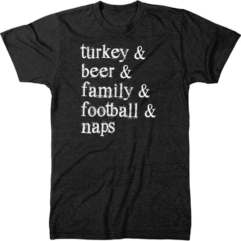 Turkey And Football And Beer Thanksgiving Mens Tri-blend T-Shirt