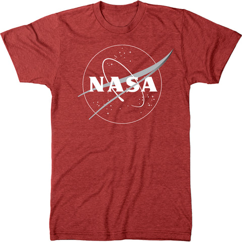 NASA Meatball Logo White Outline Mens Modern Fit Tri-Blend T-shirt