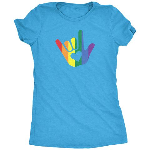 ASL I Love You LGBTQ Pride Sign Language Women's T-Shirt