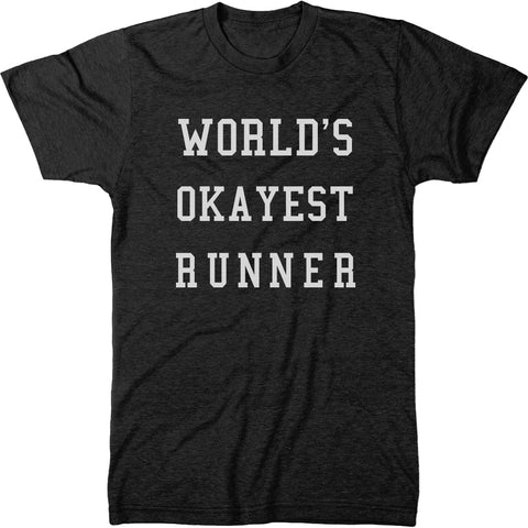World's Okayest Runner Men's Modern Fit Tri-Blend Crew Neck