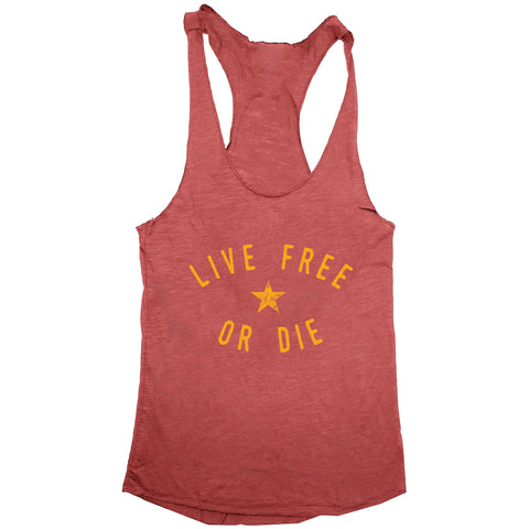 Live Free or Die New Hampshire Motto Womens Racerback Tank
