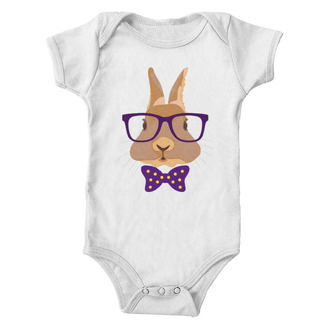 Hipster Bunny Easter Infant One-Piece Bodysuit