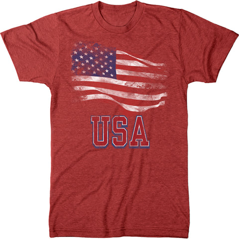 USA - American Flag Stars and Stripes Mens Tri-blend T-shirt