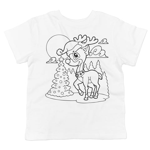 Coloring Shirts - Christmas Reindeer Toddler T-Shirt