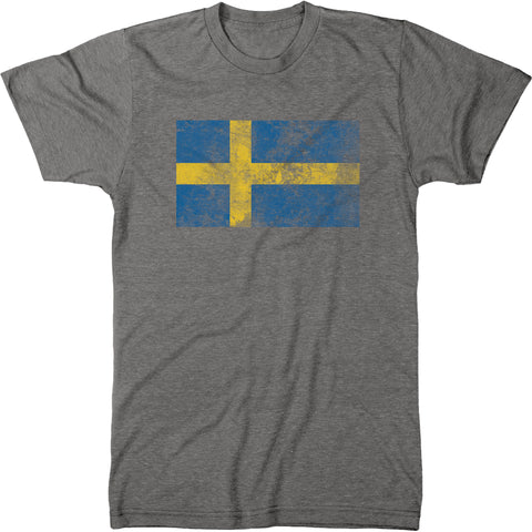 Distressed Sweden Flag Men's Modern Fit T-Shirt