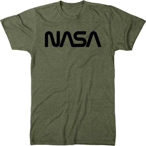 NASA Black Worm Logo Men's Modern Fit Tri-Blend T-Shirt