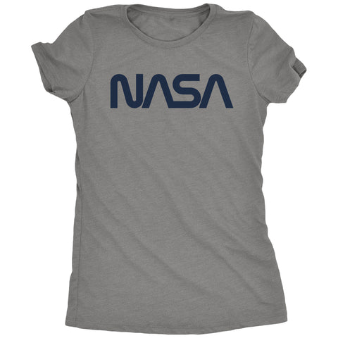 NASA Navy Worm Logo Women's Tri-blend T-Shirt