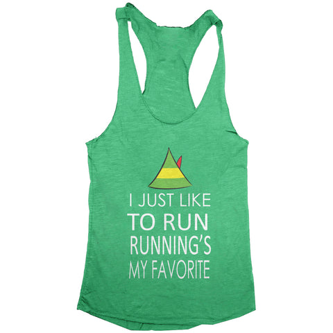 I Just Like To Run Running Is My Favorite Elf Christmas Women's Tank
