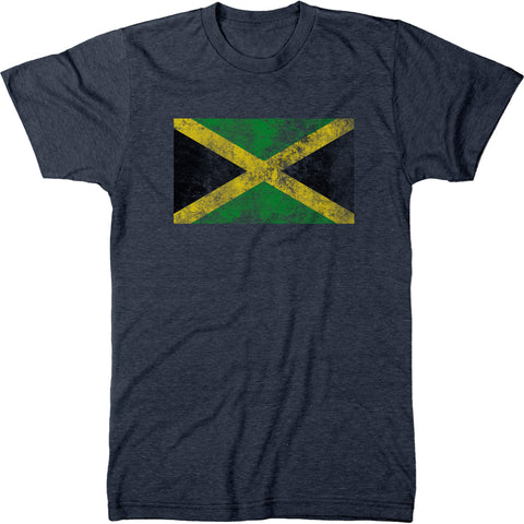 Distressed Jamaica Flag Men's Modern Fit T-Shirt