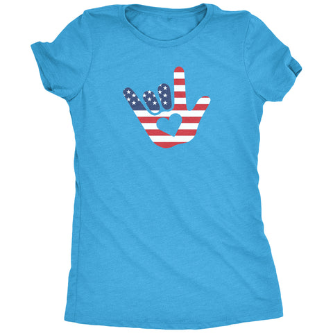 ASL I Love You American Flag Sign Language Women's T-Shirt