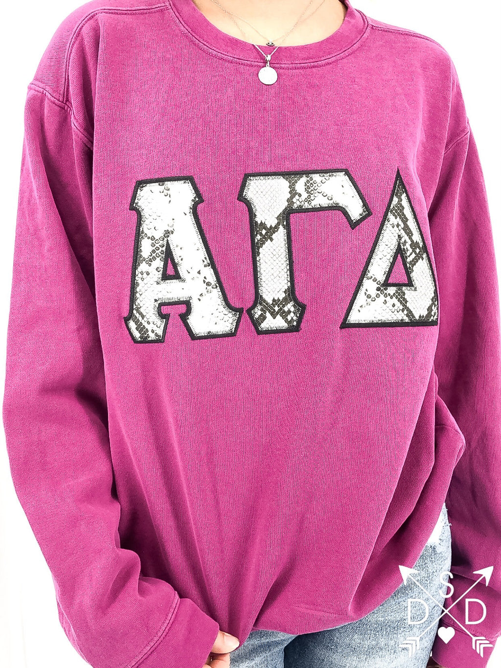 [Ready-To-Ship] Alpha Gamma Delta Ibiza Embroidered Sweatshirt - S Boysenberry