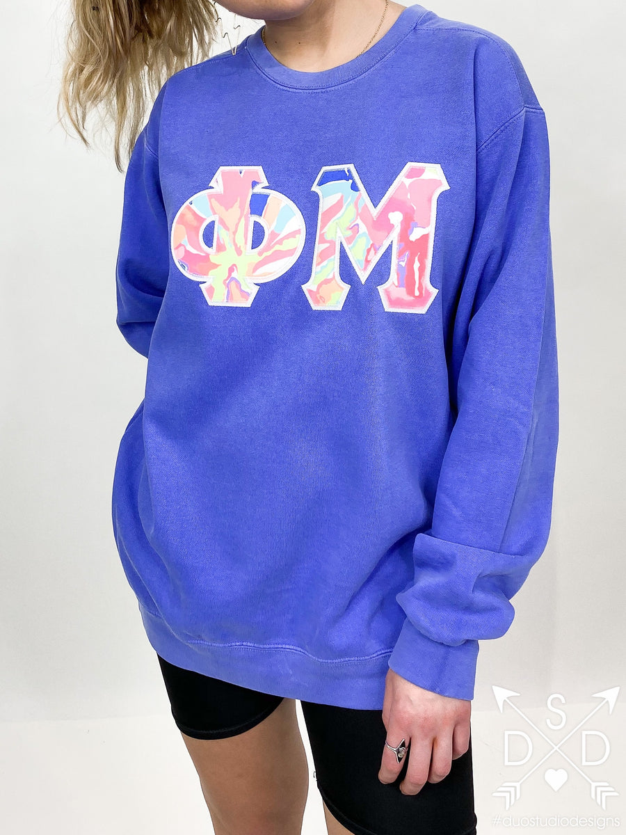Neon Lights Embroidered Letter Sweatshirt