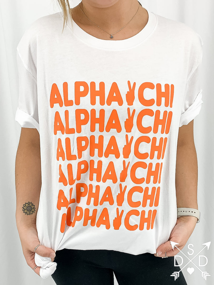 [Ready-To-Ship] Alpha Chi Omega Peace Out Tee - XL
