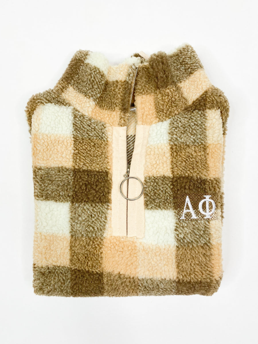 [Ready-To-Ship] Alpha Phi In Check Quarter Zip - Brown - S