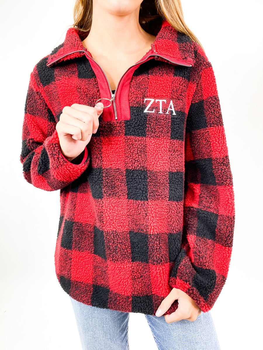 [Ready-To-Ship] Zeta Tau Alpha In Check Quarter Zip - Red - M