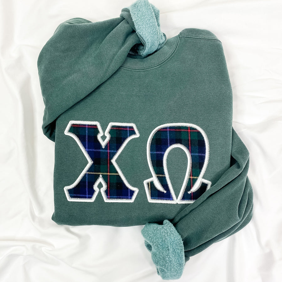 Dad's Plaid Embroidered Letter Sweatshirt