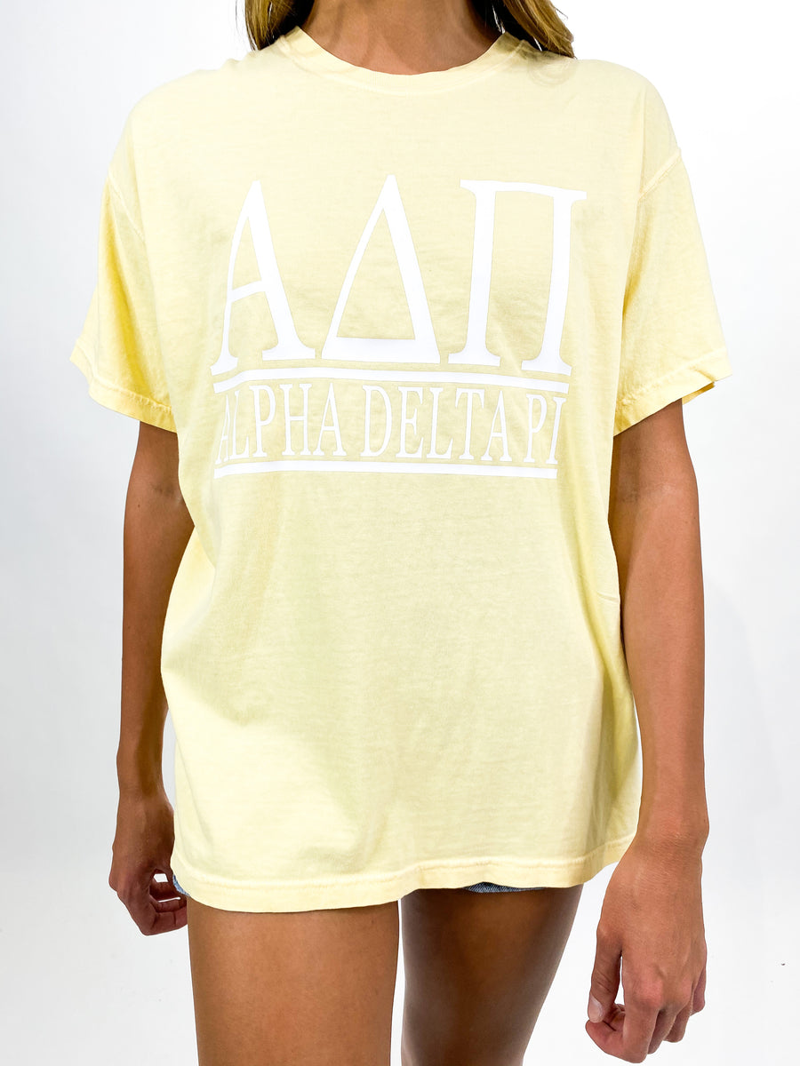 [Ready-To-Ship] Alpha Delta Pi Classic Greek Tee - Yellow - M