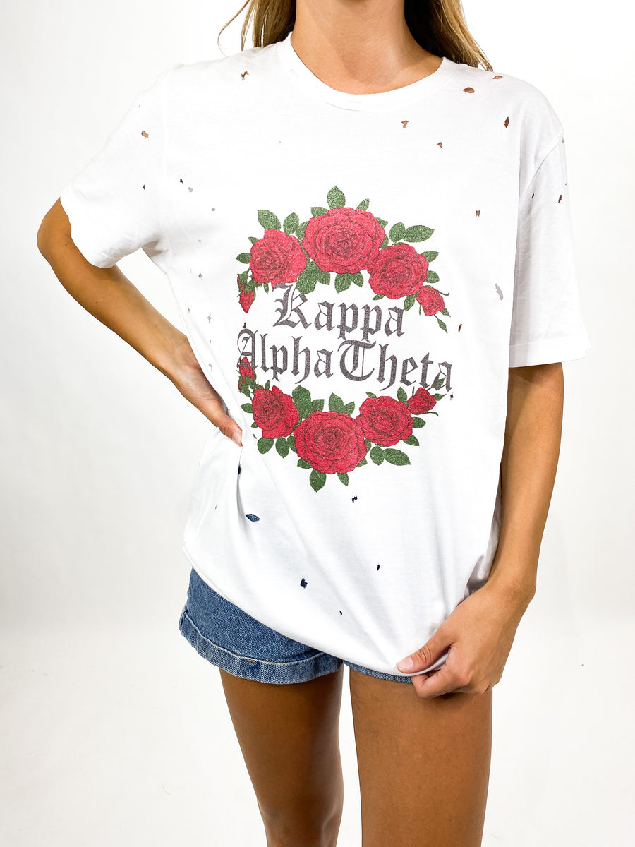 [Ready-To-Ship] Kappa Alpha Theta Rosie Tee - White - M