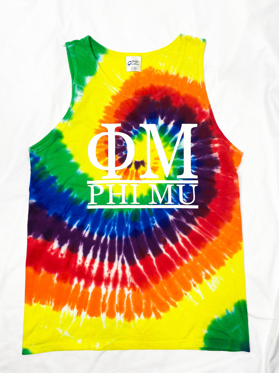 [Ready-To-Ship] Phi Mu Sorority Tie Dye Tank - L