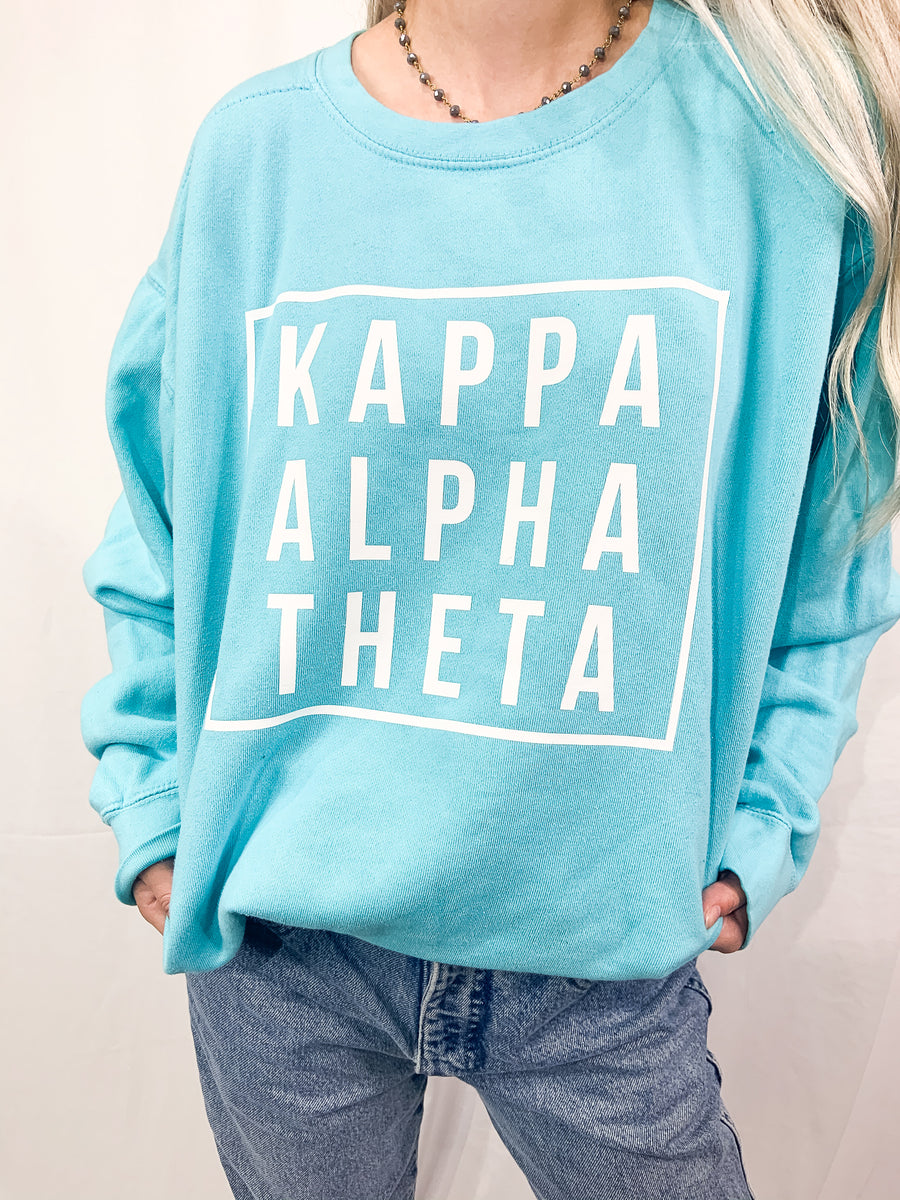 [Ready-To-Ship] Kappa Alpha Theta Hip To Be Pigment Dye Sorority Crew - L