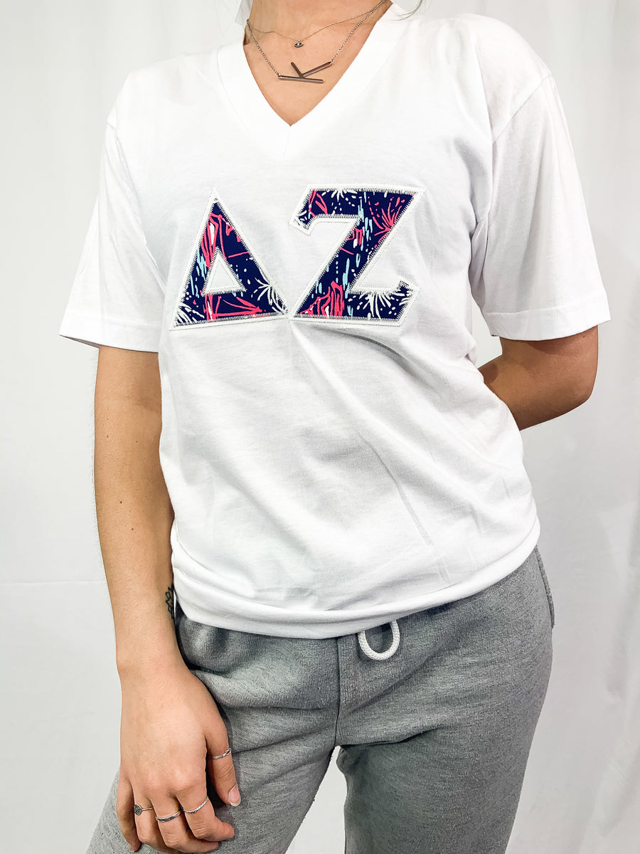 [Ready-To-Ship] Delta Zeta Embroidered Tee - S