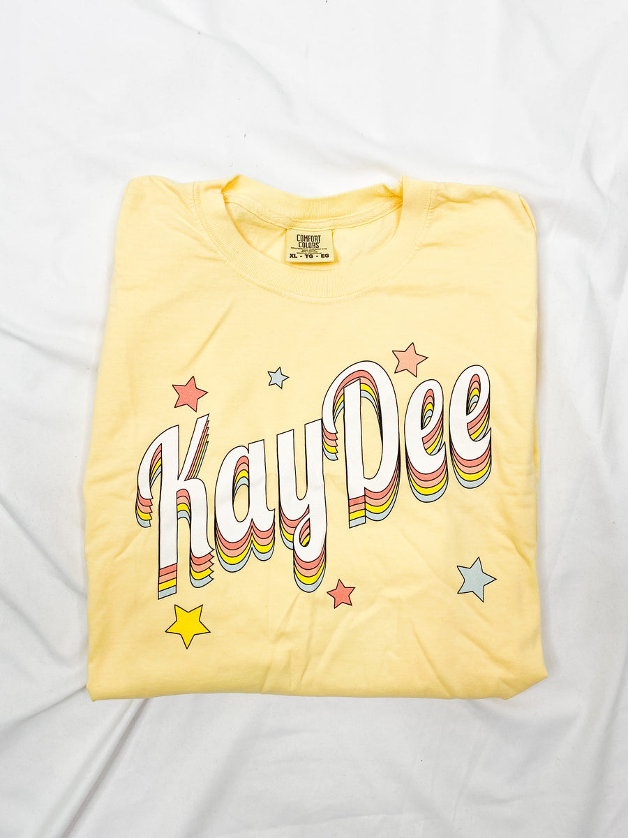 [Ready-To-Ship] Kappa Delta Over the Rainbow Tee - Butter - XL