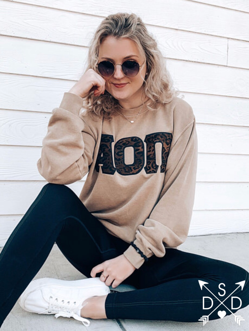 Sahara Embroidered Letter Crewneck