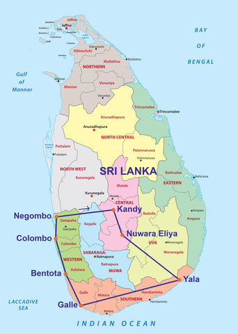 Travelbay Sri Lanka Tours - 14 Day map