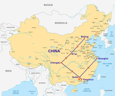 Travelbay China - 12 Day Tour Map